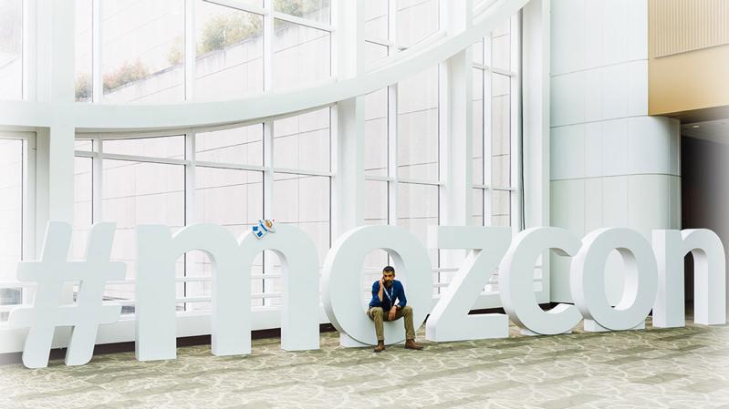 MozCon hashtag signage